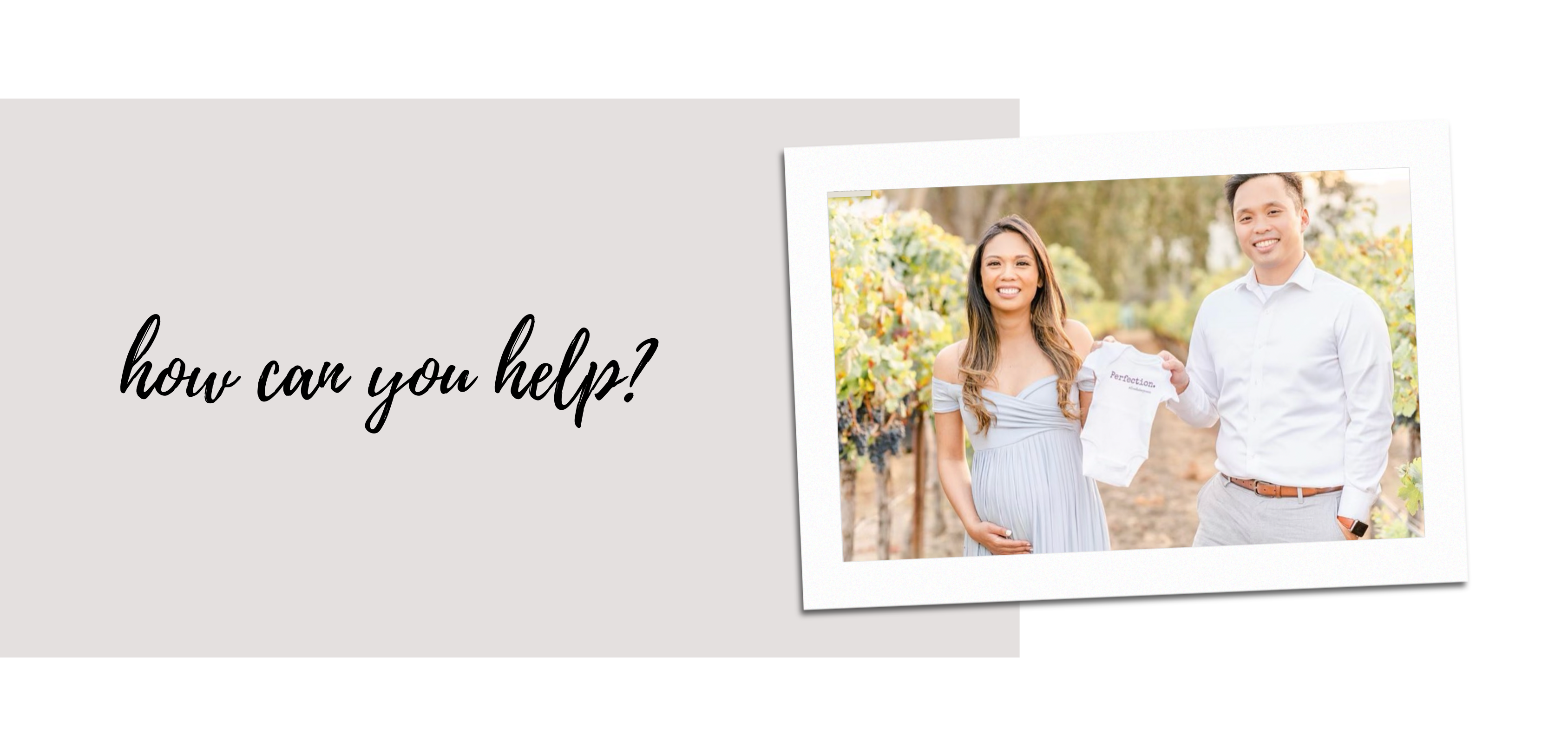"""banner that says """"How can you help?"""" in black script font with polaroid photo of couple holding a once that says perfection."""